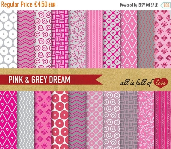 80% off Digital Paper Pack PINK & GREY DREAM Digital Background with Instant Download
