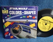 """Vintage, """"Star Wars, Adventures In Colors And Shapes"""" John Williams, Story Music, and Photos From, Read Along, 7"""" Vinyl and Book"""