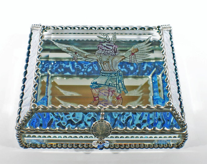 Etched Hand Painted  Kachina Dancer -Blue Ripplied Iridized