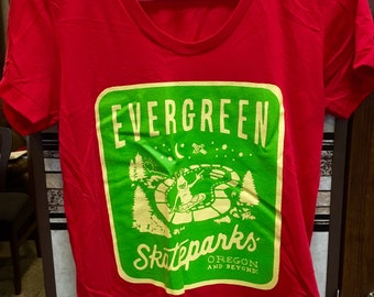 Evergreen Skateparks Womens Alien Logo Tee in Red- American Apparel