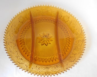 "Amber Sandwich Glass, 12"" Divided Relish Appetizer Plate, Indiana Glass for Tiara c1970s, Serving Plate"