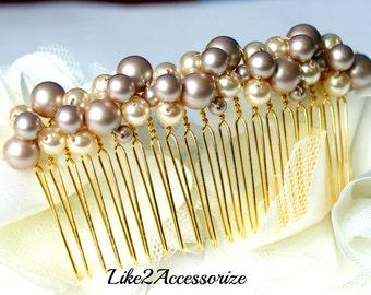 Pearl Hair Accessories Wedding Pearl Hair Comb Wedding Hair Piece Blue Brown Pearl Hair Piece Bridal Pearl Hair Comb Veil Attachment Comb
