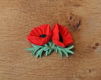 Double Poppy Brooch Pin