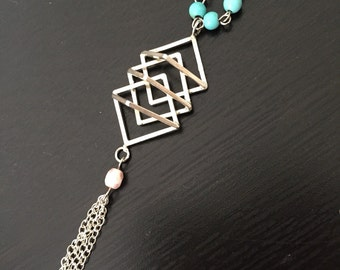 Sterling silver geometric necklace with tassel- tassel necklace