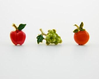 Fruit Pins Trio - Set of 3 Fruit Pins - Apple, Grapes, Orange