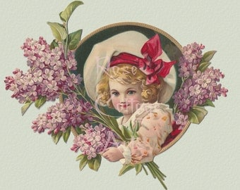 Digital Download Antique Lilac Girl Die Cut Victorian Scrap Graphic Image now in PNG!