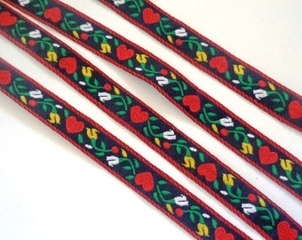 Jacquard Embroidered Red Hearts Ribbon, Navy, 1/2 inch wide, 1 yard, For Home Decor, Accessories, Apparel, Scrapbook, Mixed Media