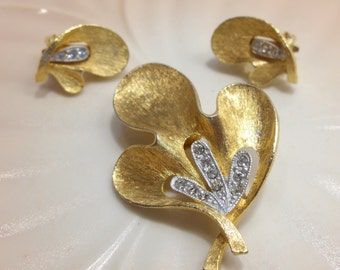 Brushed Gold Tone and Rhinestone Brooch and Clip Earrings by JJ Jonette Company