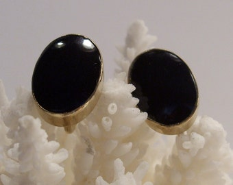 Black Onyx Van Dell 12 KT Gold Filled Screw Back Earrings