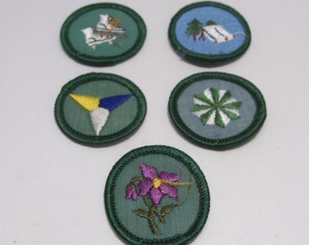 Four Girl Scout Badges and One Troop Crest Circa 1960's to 1970's  Group #1