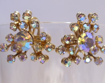 Aurora Borealis Rhinestone Screwback Earrings Perfect for a Wedding