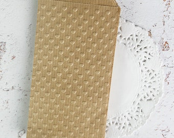 Small kraft hearts paper bags (10)