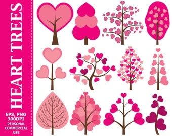 50% OFF SALE Digital Heart Trees Clip Art - Tree, Heart, Love, Pink, Vector, Valentine's Day Clip Art