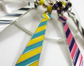 Bright Necktie Wine Charm Set - A different take on the tie for Father's Day