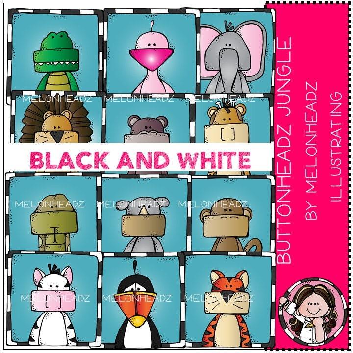 Jungle Animals clip art Buttonheadz BLACK AND WHITE