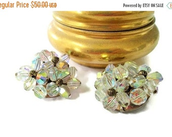 ON SALE Gorgeous Hattie Carnegie AB Crystal Clip On Earrings, Vintage Glitz Gold Tone, Signed
