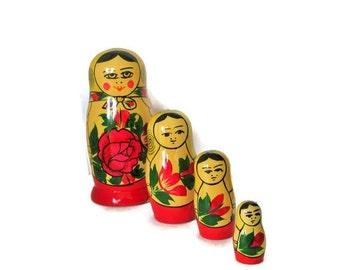 ON SALE Russian Soviet Matryoshka Nesting Dolls, Marked USSR, Folk Art Dolls