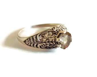 Art Deco Style Engagement Ring by Jenna Nicole, Sterling Silver, Quartz, Sz 9.5, Filigree Setting