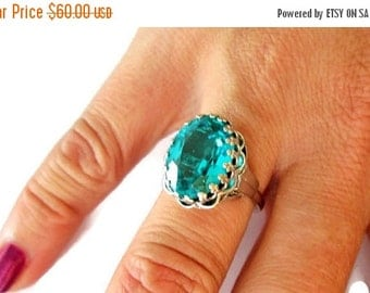 ON SALE Glamorous Vintage Statement Cocktail Ring by Danecraft, Sterling Silver Aqua, Teal, Quartz, Runway, Show Stopper