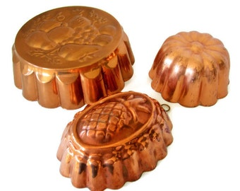 Vintage Copper Mold Collection of 3