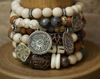 Stack Bracelets, Beaded Bracelets, Set of SIX Bracelets, Charm Bracelets, Stretch Bracelets, Angel Bracelet, Boho Bracelets, Buddha Bracelet