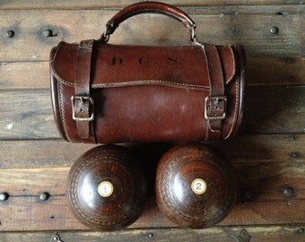 Antique English Lawn Balls in Leather Carry Case ~ Bocce  ~ Vignum Vitae Lawn Bowls ~ Monogrammed