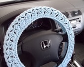 Crochet Steering Wheel Cover, Wheel Cozy - light blue (CSWC 8X)