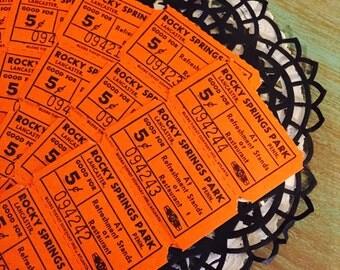 20 Orange Tickets / Vintage Ephemera ROCKY SPRINGS PARK Tickets / Orange Tickets for Altered Art, mixed media