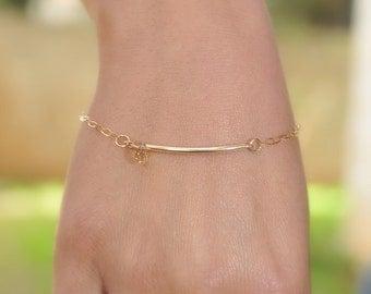 Gold  Bracelet -  Gold curve and swarovski crystal bracelet - 14k gold bar arc tube -  modern minimalist jewelry, bracelet gold