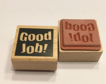 """small """" Good Job """" rubber stamp, 20 mm (F1)"""
