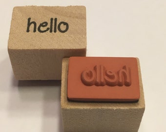 small hello rubber stamp, 16 mm (A11/1)