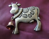 Vintage Cow Brooch, With Bell, Pewter Color, Excellent Condition