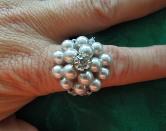 Faux Pearl Ring, With Rhinestones and Tiny Beads Size 7-8