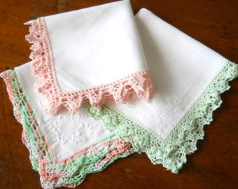 RESERVED for B: 3  vintage lace handkerchiefs vintage handkerchiefs lace hankies vintage ladies handkerchiefs ladies hankies vintage white