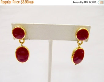 ON SALE Retro Red Enameled Drop Earrings Item K # 2694