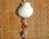 Natural Scallop Shell Ornament Suncatcher Amber Clear Crystals Pearls Silver Patio Home