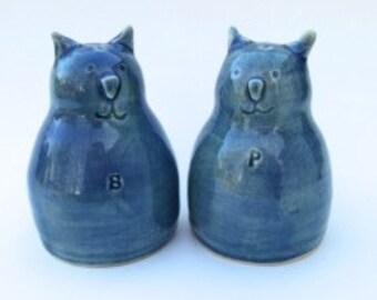 Cat Salt Pepper Shakers Blue Ceramic Pottery