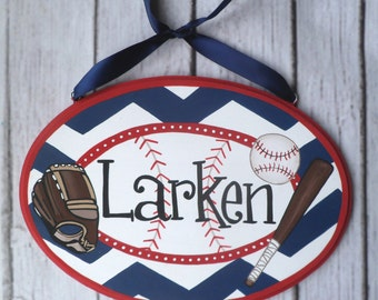 """Custom Baseball themed Artisan hand painted chevron wooden name plaques plate sign 6""""x10"""" ~ Navy, red, brown, white boys sports room"""