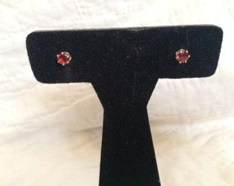 Vintage 925 Sterling Silver Simulated Ruby Design Earrings, 3/16'' Diameter