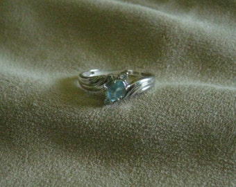 Sterling Silver Ring Oval Blue Topaz  Size 11