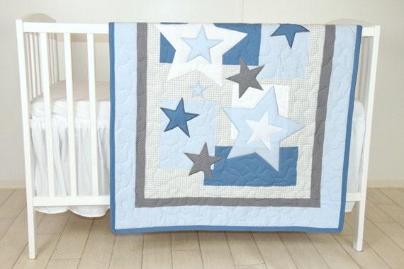 Star Baby Blanket, Blue Gray Quilt Blanket, Star Crib Bedding