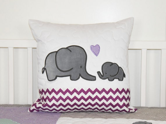 Elephant Pillow Decorative Kids Pillow Girl Nursery Decor Purple and Gray
