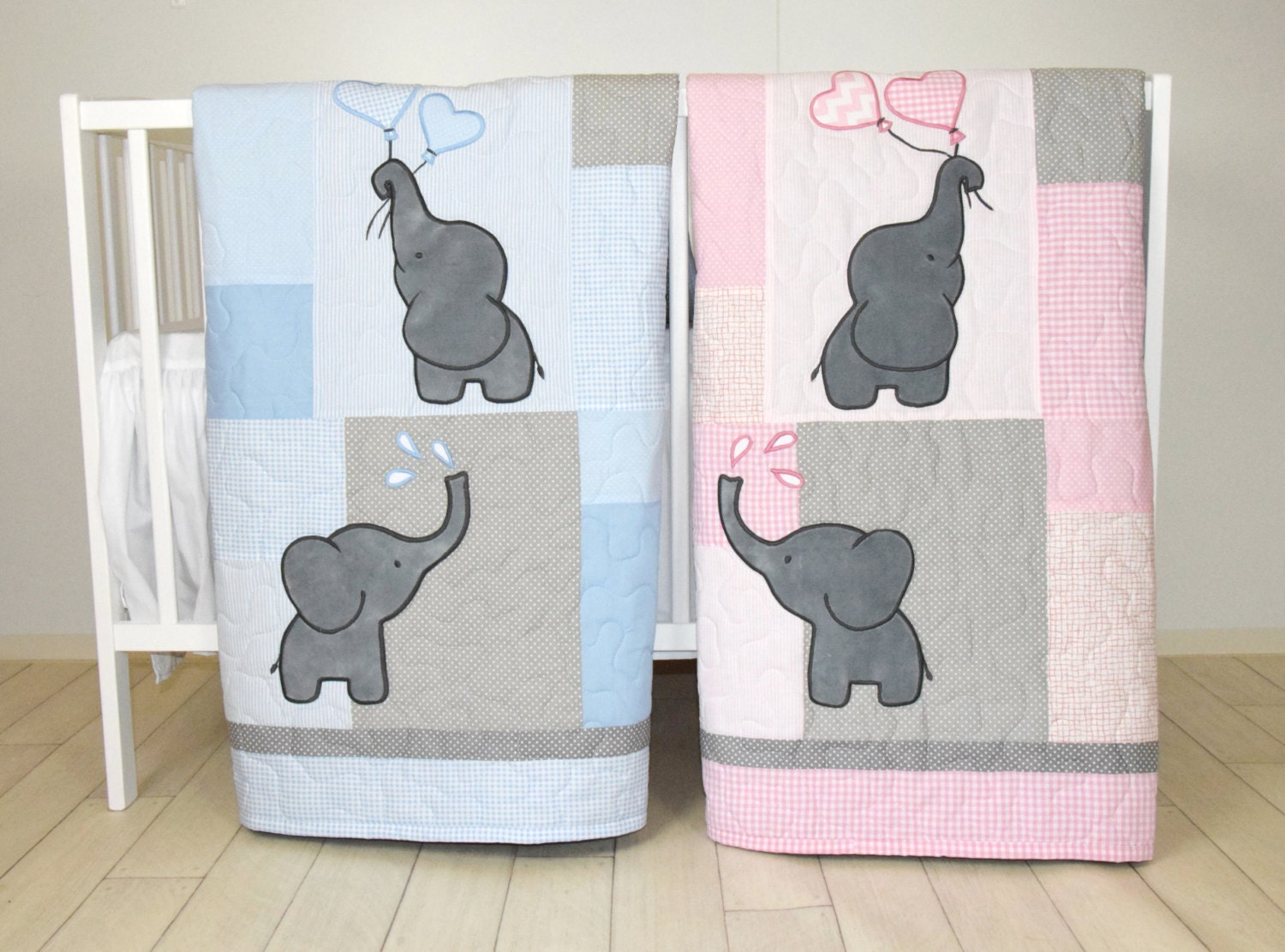 Twin Baby Quilts Pink Blue Twin Crib Bedding Elephant Kids
