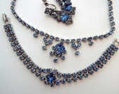 Vintage Blue Rhinestone Demi Set Necklace Bracelet and Screw back Earrings