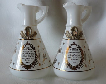 Vintage Hazel Atlas Grace After Meals Grace Before Meals Blessing Prayer Oil and Vinegar Cruet Extremely Rare