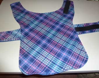 Small - Pink and Blue Plaid Winter Fleece Dog Coat