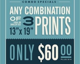 "3 - 13"" x 19"" Prints Combination"