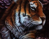 Original - Tiger Painting with Peonies Acrylic Artwork by Danielle Trudeau