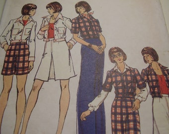 Vintage 1970's Butterick 3537 Jacket, Skirt, Pants and Shorts Sewing Pattern, Size 12, Bust 34