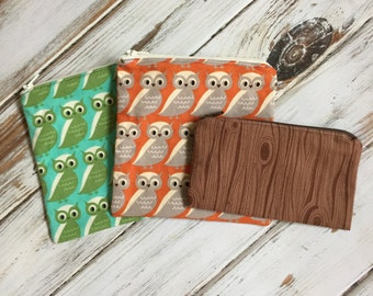 Owl Print Reusable Sandwich and Snack Bag Set with Zipper Closure